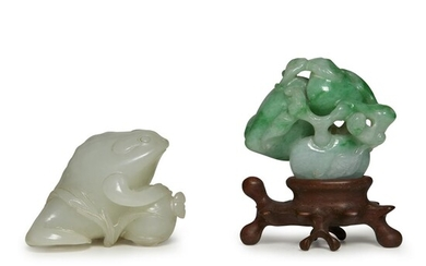 A Chinese carved celadon jade toad and pomagranate group...