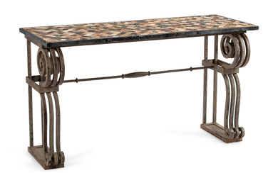 A Continental Iron Console Table with a Specimen Marble Top