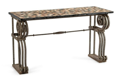 A Continental Iron Console Table with a Specimen Marble