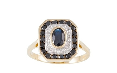 A DIAMOND AND SAPPHIRE CLUSTER RING, of plaque design, the o...