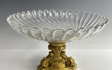 A DORE BRONZE AND BACCARAT CRYSTAL BOWL