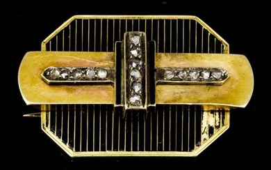 A French 18ct Gold, Black Enamel and Diamond Brooch,...