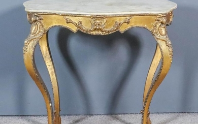 A French White Marble Topped and Gilt Occasional Table,...