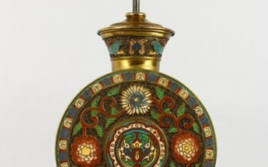 A GOOD CHINESE CLOISONNE CIRCULAR LAMP, on a wooden