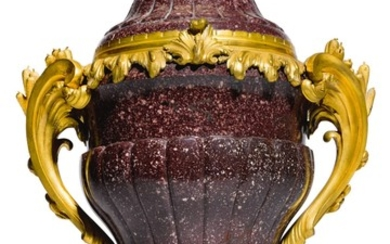 A LOUIS XV STYLE GILT-BRONZE MOUNTED PORPHYRY VASE LATE 19TH CENTURY