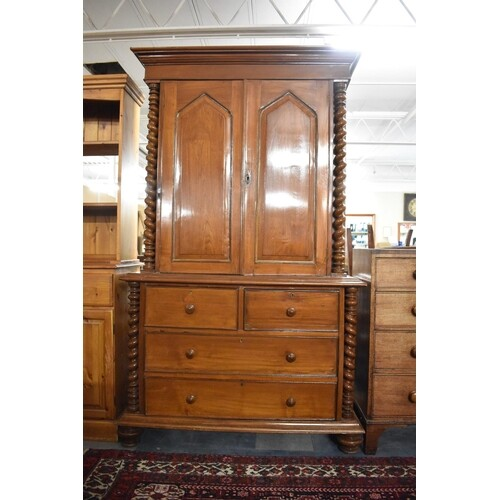 A Late 19th Century Walnut Housekeepers Cupboard with Panell...