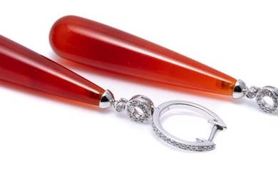 A PAIR OF AGATE AND DIAMOND DROP EARRINGS; long agate pendeloque drops to 18ct white gold bale, ring and hoops set with round brilli...