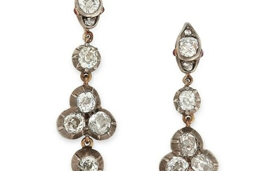 A PAIR OF ANTIQUE DIAMOND AND RUBY SNAKE DROP EARRINGS