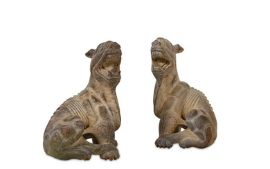 A PAIR OF CHINESE JADE FIGURES OF LIONS.