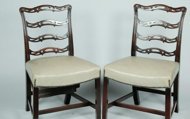 A PAIR OF CHIPPENDALE STYLE SIDE CHAIRS