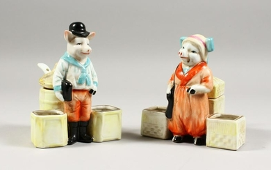 A PAIR OF CONTINENTAL PORCELAIN MR. AND MRS. PIG