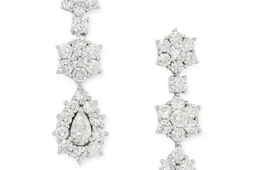 A PAIR OF DIAMOND DROP EARRINGS the articulated bodies