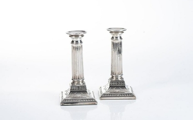 A PAIR OF DUTCH SILVER CANDLE STICKS, MAKER'S MARK GB