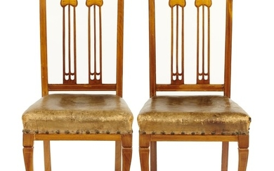A PAIR OF EDWARD VII AFRICAN WALNUT AND INLAID CHAIRS, C190...