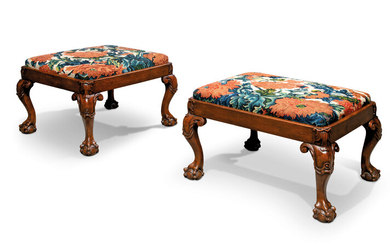 A PAIR OF GEORGE II WALNUT STOOLS