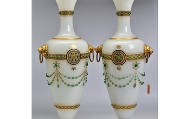 A PAIR OF LATE 19TH CENTURY OPAQUE WHITE GLASS, GILT AND GRE...