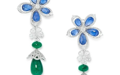 A PAIR OF SAPPHIRE, DIAMOND AND EMERALD DROP EARRINGS