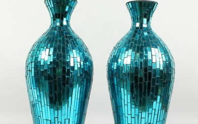A PAIR OF STAINED GLASS STYLE TURQUOISE GLASS VASES.