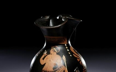 A Paestan Red-Figured Trefoil Oinochoe with a Standing