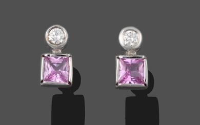 A Pair of 18 Carat White Gold Pink Sapphire and...