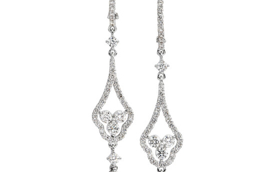 A Pair of Diamond and White Gold Ear Pendants