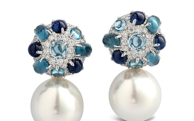 A Pair of South Sea Cultured Pearl, Sapphire, Blue Topaz, Diamond and White Gold Day/Night Ear Pendants