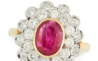 A RUBY AND DIAMOND CLUSTER RING in 18ct yellow gold