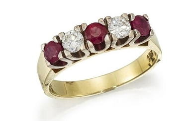 A RUBY AND DIAMOND FIVE-STONE RING Alternately set