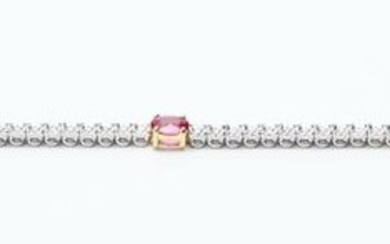 A RUBY AND DIAMOND LINE BRACELET IN 18CT WHITE GOLD, COMPRISING FIVE OVAL RUBIES TOTALLING 1.47CTS AND SEVENTY TWO ROUND BRILLIANT C...