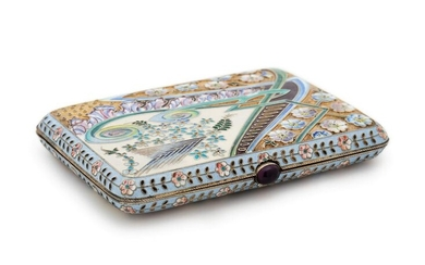 A Russian Silver-Gilt and Shaded Enamel Cigarette Case