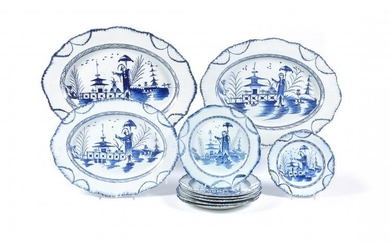 A Staffordshire blue and white painted chinoiserie part service