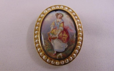 A Victorian seed pearl and enamel brooch tested 10ct...