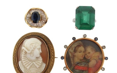 A Victorian shell cameo brooch, within Etruscan Revival...