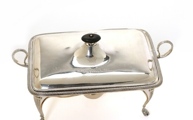 A Victorian sterling silver chafing dish, stand and burner. Maker William Hutton & Sons, London...