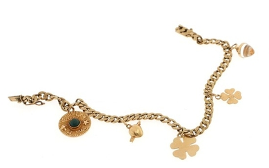 A charms bracelet set with three 14k gold charms and two 18k gold charms, mounted on 8k gold bracelet. L. 19.6 cm.