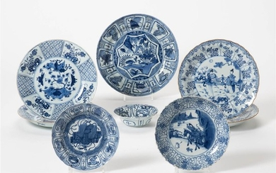A collection of Chinese blue and white plates...