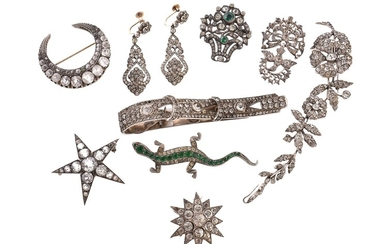 A collection of antique paste jewellery