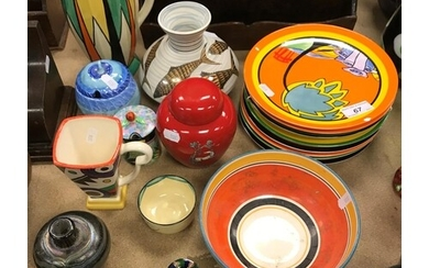 A collection of various Art Deco design pottery including a ...