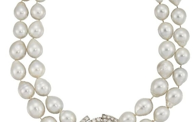 A cultured pearl and diamond necklace, the two...