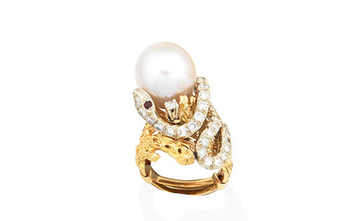 A cultured pearl, diamond and ruby ring