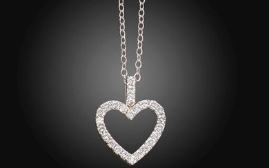 A diamond-set heart pendant, set with round brilliant-cut diamonds in white gold, diamonds approximately 0.75cts total, on a fine-link white gold neck chain, pendant 2.3cm high, 42cm long