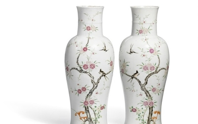 """A pair of Chinese famille rose porcelain """"sleeve"""" vases, late Qing. H. 46.5 cm. (2)"""