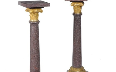 A pair of French porphyry and gilt bronze mounted pedestal columns