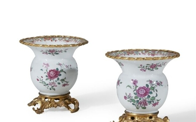 A pair of Louis XV gilt-bronze mounted Chinese export...