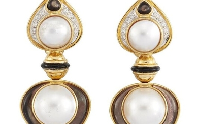 A pair of cultured and mother-of-pearl pearl,...