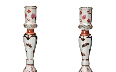 A pair of rouge de fer and grisaille export candle sticks, Qing dynasty, Qianlong (1736-95).
