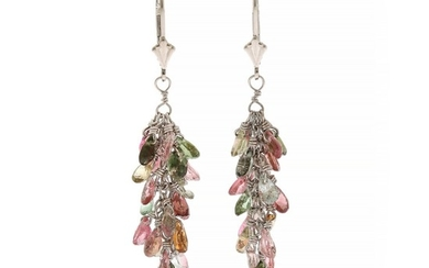A pair of tourmaline ear pendants each set with numerous pear-shaped tourmalines, mounted in 14k white gold. L. 4.5 cm. (2)