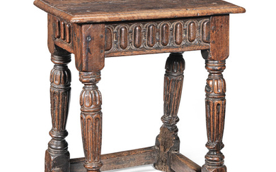 A rare Elizabeth I oak and walnut joint stool, circa 1580