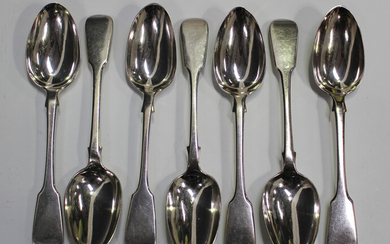 A set of five Victorian silver Fiddle pattern dessert spoons, London 1860 by Henry Lias & Son, l