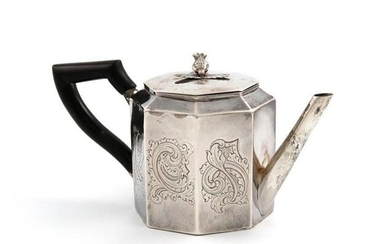 A small 19th century Dutch tea pot, 1843, octagonal form, engraved decoration, scroll handle, the pull-off cover with a flower finial, the underside inscribed, length handle to spout 15cm, approx. weight 5oz.